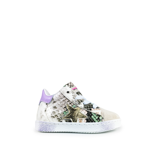 Kids shoe online Rondinella trainer Snake print sneaker with gold star