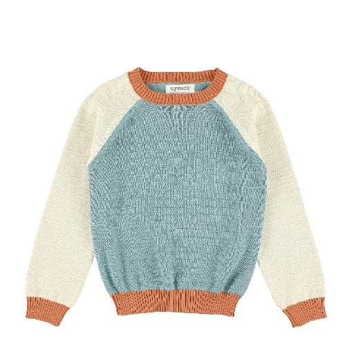 Kids shoe online Aymara jersey Colorblock jumper in petrol/ecru