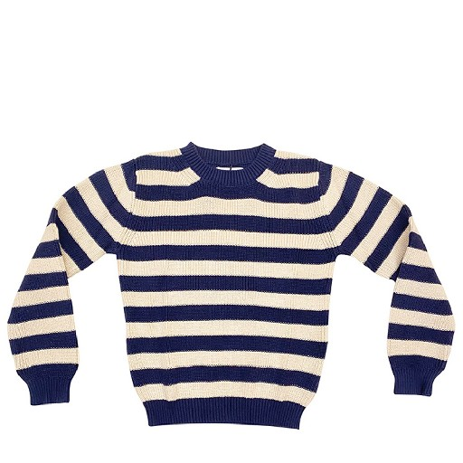 Kids shoe online Aymara jersey Dark blue and ecru striped jumper