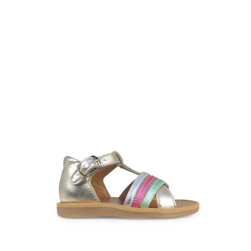 Kids shoe online Pom d'api sandals Sandal with closed heel platinum, mint and pink