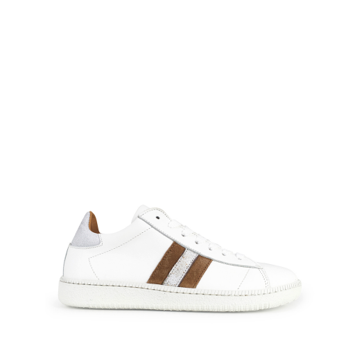Kids shoe online Rondinella trainer White sneaker with brown accents