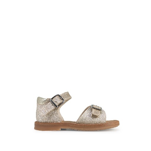 Kids shoe online Beberlis sandals Golden glitter sandal