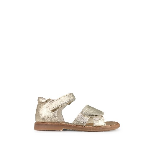 Kids shoe online Beberlis sandals Golden glitter sandal with velcro