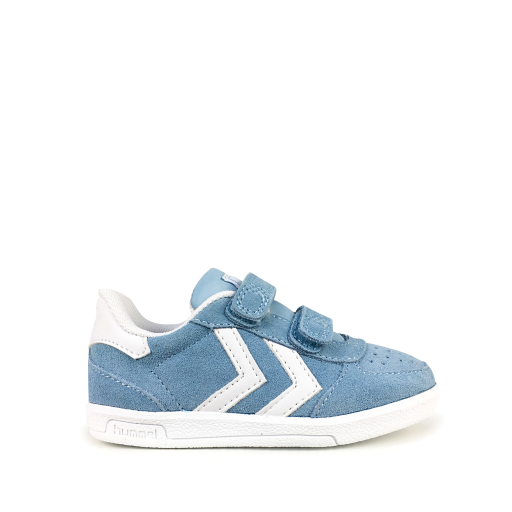 Kids shoe online Hummel trainer Light blue velcrosneaker with v-stripes