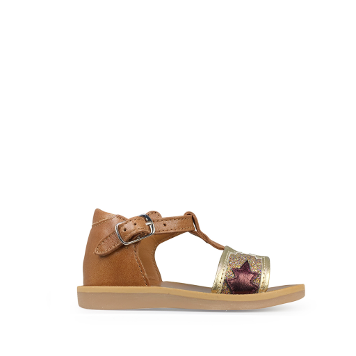 Kids shoe online Pom d'api sandals Camel sandal with multi-coloured strap